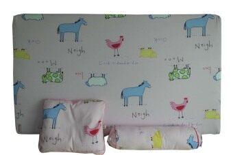 PalmandPond ที่นอนฟองน้ำ/หมอนหลุม/หมอนข้าง ลายวัว - สีชมพู