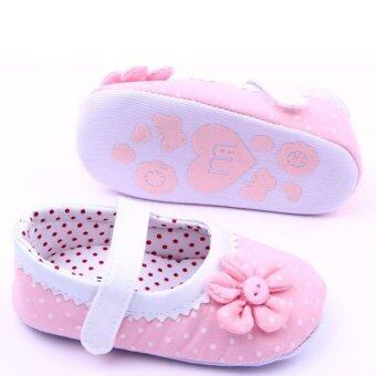 Baby Girl Shoes First Walkers Bebe Cute Flower Polka Dot Soft Shoes Pink (image 2)
