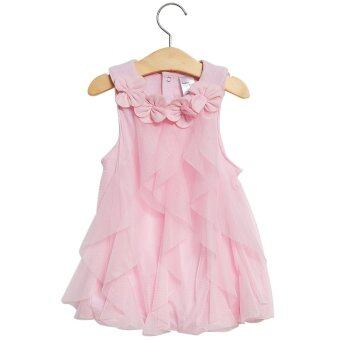 Cute Flower Turn Down Collar Sleeveless Mesh Pure Color Baby Girls Dress - intl. >>>>