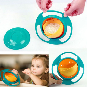 Non Spill Feeding Toddler Gyro Bowl 360 Rotate w/ Lid Baby Avoid Food Spill