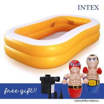 INTEX swimming pool สระว่ายน้ำเป่าลม ขนาด 2 เมตร แถมฟรี ตุ๊กตาเป่าลม (คละแบบ) และ ที่สูบลมไฟฟ้า