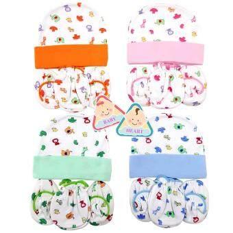 baby heart ชุดหมวก ถุงมือ ถุงเท้า เด็กแรกเกิด ผ้า Cotton แพ็ค 4 เซ็ต