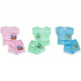 Juju ชุดเด็กอ่อนเเรกเกิด ผ้า Cotton แบบผูกหน้า เเขนสั้น - แพค 3 ชิ้น