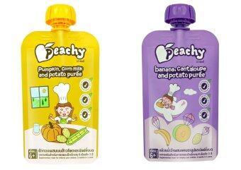 Peachy อาหารเสริมเด็ก ฟักทอง-น้ำนมข้าวโพด (14 ถุง) + แคนตาลูป-กล้วย (14 ถุง)