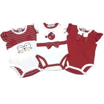 LITTLE BABY M เสื้อผ้าเด็กเล็ก บอดี้สูท setสีแดง 3 ตัว