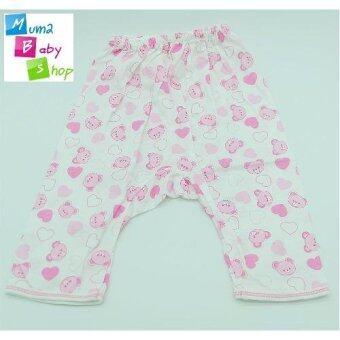 mum2babyshop ชุดเสื้อเด็กแรกเกิดผูกหน้า+แขนยาว+ขายาว+ถุงมือ+ถุงเท้า ผ้าcotton100% set 4 ชิ้น สีชมพู (image 2)