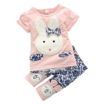 2Pcs Suit Baby Cute Rabbit Top+Short Pants Set Pink (Intl) (image 1)