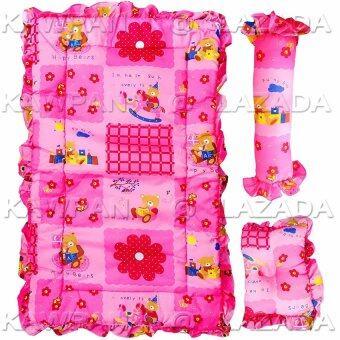 k.baby ชุดที่นอนทารก ลายการ์ตูน+ หมอนหลุม + หมอนข้าง - สีชมพู