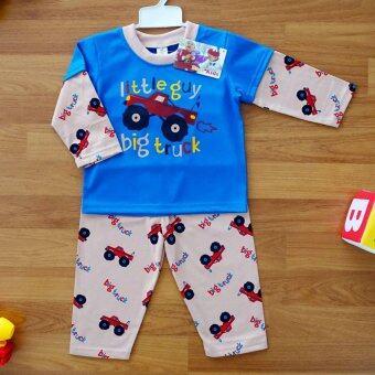 Baby Elegance ไซส์ 1 (3-6 เดือน) ชุดนอน เด็กผู้ชาย เซ็ต 2 ชิ้น เสื้อแขนยาวลายรถกระบะล้อโต กางเกงขายาว