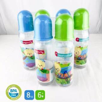 Papa Baby ขวดนมเด็กพร้อมจุกนมเด็ก ขนาด 8oz จำนวน 6 ขวด รุ่น PR-15/8