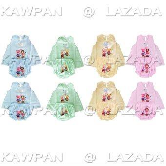 k.baby ชุดเด็กอ่อนเด็กเเรกเกิดผู้หญิง แบบผูกหลัง แพค8ชุด (สีส้ม/เขียว/ฟ้า/ชมพู)