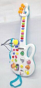 Worktoys กีต้าร์ พร้อมไมโครโฟน ของเล่นเด็กเล็ก ของเล่นทำนองเพลง เสียงสัตว์ (สีฟ้า)