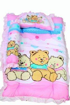 JuJu ชุดที่นอนเด็กอ่อน+ หมอนหลุม+หมอนข้าง - สีชมพู