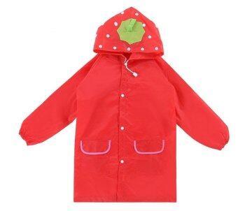 T-Toys เสื้อกันฝนเด็ก ลายสตรอเบอร์รี่สีแดง