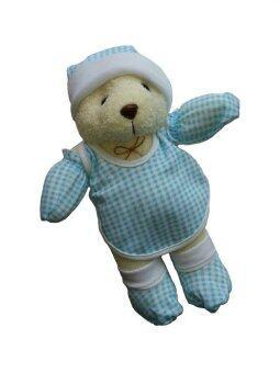 Mindcare ชุดของขวัญตุ๊กตาหมี ชุดลายสก็อต - สีฟ้า