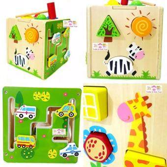 Todds Kids Toys ของเล่นเสริมพัฒนาการ ของเล่นไม้ กล่องกิจกรรมฝึกกล้ามเนื้อ (ตอกทุบ หยอดบล็อก รางเลื่อน)