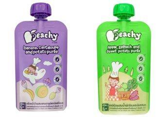 Peachy อาหารเสริมเด็ก แคนตาลูป-กล้วย (7 ถุง) + แอปเปิ้ล-ผักโขม ( 7 ถุง)