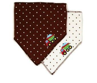 Luvable Friends ผ้ากันเปื้อน สามเหลี่ยมแพ็คคู่ ลายรถน้ำตาล - สีน้ำตาล/ขาว