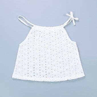 Girl Clothes Lace Neck Coat Pure Color - White - intl