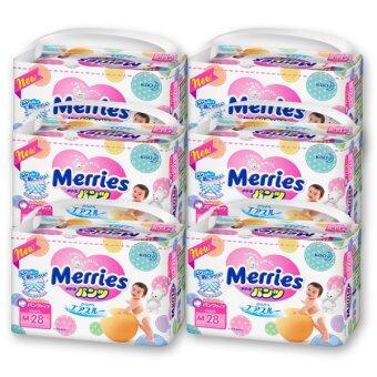 ขายยกลัง! Merries ผ้าอ้อมเมอร์รี่ส์ชนิดกางเกง ไซส์ M 28ชิ้น x 6 แพค (รวม 168 ชิ้น)