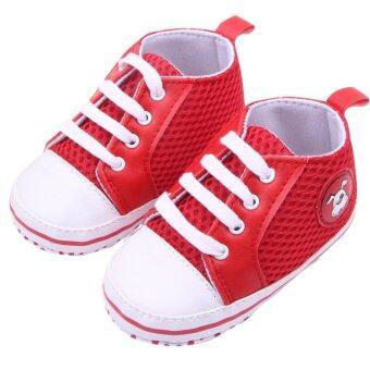 Eozy Kids shoes Baby Sneakers Prewalker Breathable Mesh Toddler Korean First Walker Boys Girls Shoe (Red)