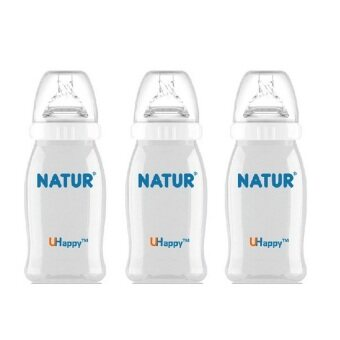Natur Wide Neck ขวดนมปากกว้าง UHappy 4 ออนซ์ (รุ่น 81074) 3 ขวด