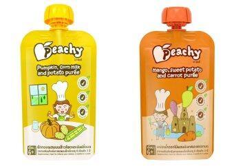 Peachy อาหารเสริมเด็ก ฟักทอง-น้ำนมข้าวโพด ( 7 ถุง) + มะม่วง-แครอท ( 7 ถุง)