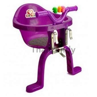 ThaiTrendy เก้าอี้นั่งเสริมจักรยาน สำหรับเด็ก มาพร้อมของเล่นด้านหน้า สีม่วง