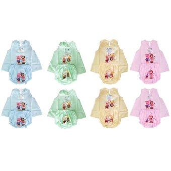 K.baby ชุดเด็กอ่อนเเรกเกิดผู้หญิง อย่างบาง แพ็ค 8 ชุด 4 สี - สีชมพู/เขียว/ฟ้า/เหลือง