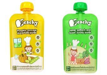 Peachy อาหารเสริมเด็ก ฟักทอง-น้ำนมข้าวโพด (7 ถุง) + แอปเปิ้ล-ผักโขม (7 ถุง)