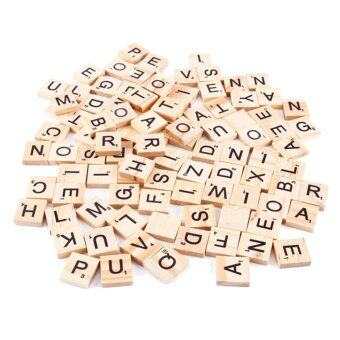 100x Wooden Alphabet Scrabble Tiles Black Letters & Numbers For Crafts Wood - intl