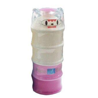 PAPA กระปุกแบ่งนมผง แบ่งนม 4 ชั้น สีชมพู (แพ็ค 1 ชิ้น)