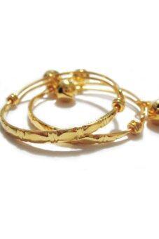 TANITTgems กำไลข้อเท้าเด็กกระพรวนคู่ทองสลักลาย - Gold (image 1)