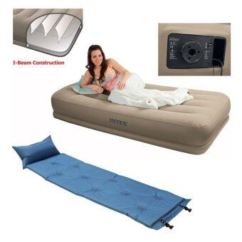Intex ที่นอนเป่าลมแบบมีที่สูบลมไฟฟ้าในตัว เตียงเดี่ยว (แถมฟรี ที่นอนสูญญากาศ)