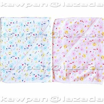 k.baby ผ้าห่อตัวเด็ก (ลายลูกหมี)ทำจากผ้า cotton 100% หนานุ่มกำลังดี สำหรับเด็กอ่อนแรกเกิดขึ้นไป - 2 ชิ้น สีชมพู+ฟ้า