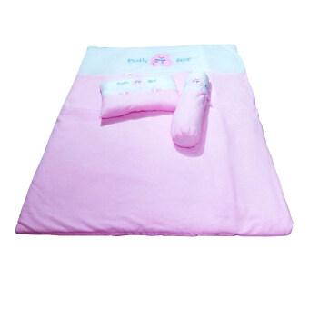 KISSBABY ที่นอนเด็กทารก ชุดที่นอนเด็กแรกเกิดใยสังเคราะห์พร้อมหมอน หมอนข้าง สีชมพู