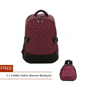Polka Dots Large Capacity Baby Diaper Nappy Mummy Bag Backpack + Free Toddler Safety Harness Backpack (Claret) - Intl