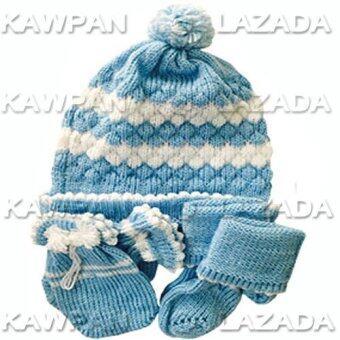 Juju ชุดไหมพรมเด็กอ่อน หมวก + ถุงมือ + ถุงเท้า - สีฟ้า