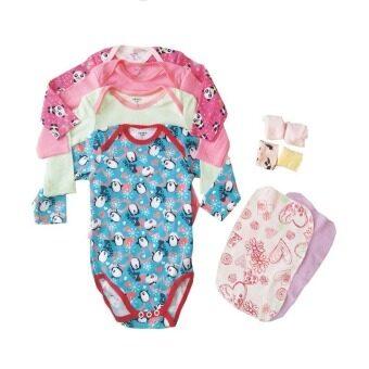 achute ชุดเซ็ตบอดี้สูทเด็กแขนยาว 4 ตัว พร้อมผ้าเช็ดปาก6 ผืน สำหรับเด็ก 9 เดือน ใส่ถุงของขวัญ