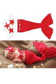 เด็กทารกแรกเกิดถักผ้าขนสัตว์ใส่ชุดสูทออกแบบฉากรูปสัตว์ (สีแดง)