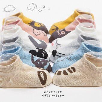 Jiayiqi 1 คู่ถุงเท้าเด็กอ่อนทารกเพศการ์ตูนสัตว์น่ารักถุงเท้าผ้าฝ้าย (เรือแบบ) (image 2)