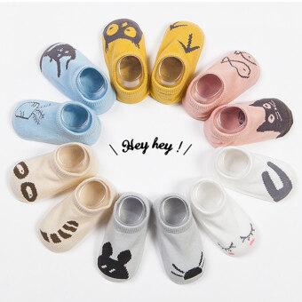 Jiayiqi 1 คู่ถุงเท้าเด็กอ่อนทารกเพศการ์ตูนสัตว์น่ารักถุงเท้าผ้าฝ้าย (เรือแบบ)