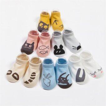 Jiayiqi 1 คู่ถุงเท้าเด็กอ่อนทารกเพศการ์ตูนสัตว์น่ารักถุงเท้าผ้าฝ้าย (เรือแบบ) (image 3)