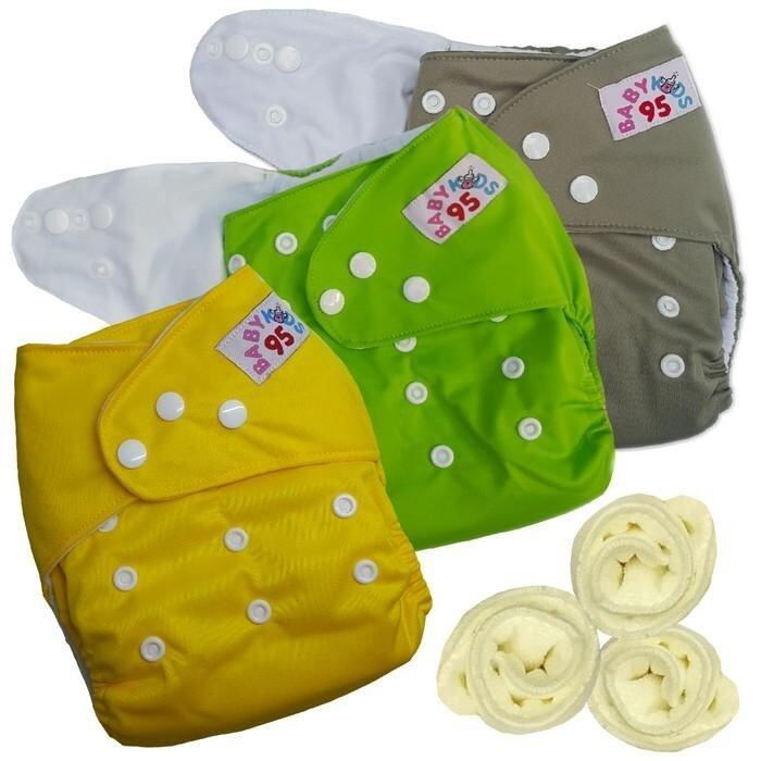 กางเกงผ้าอ้อมกันน้ำ+แผ่นซับไมโครฯ Size:3-16กก. เซ็ท3ตัว (Grey/Green/Yellow)(Multicolor O ...
