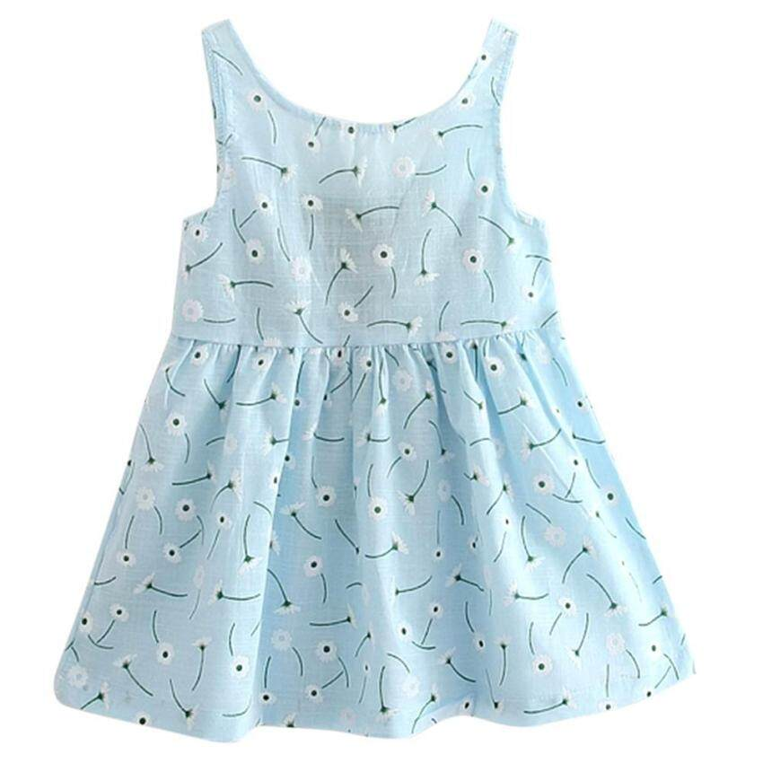 Kids Girls Sleeveless Flower Print Soft Cotton Princess Dress - intl ...
