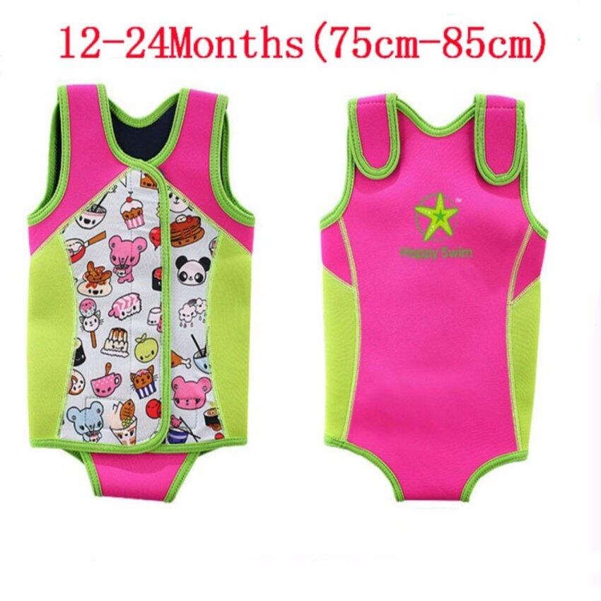 Kids Thermal Swimwear Snorkeling Diving Keep Warm Swimsuits Swimming Suit Wear Play Water Sports Activities Children Life Vest Float Toddler Baby Boy Girl - Intl[Pink] - intl