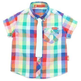 Kidsplanetเสื้อเชิ้ตแขนสั้นลายตาราง(หลากสี) +เนคไท(สีขาว) Size 12-18-24เดือน