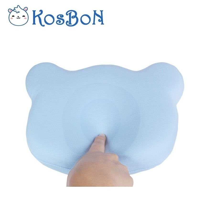 KSB 25cm Blue Soft Memory Foam Baby Pillow Head Positioner Neck Support,Prevent Flat Head Syndrome For 3 Months To 1 Year Old Infant (Bear Shape,Includes Pillow Case). - intl