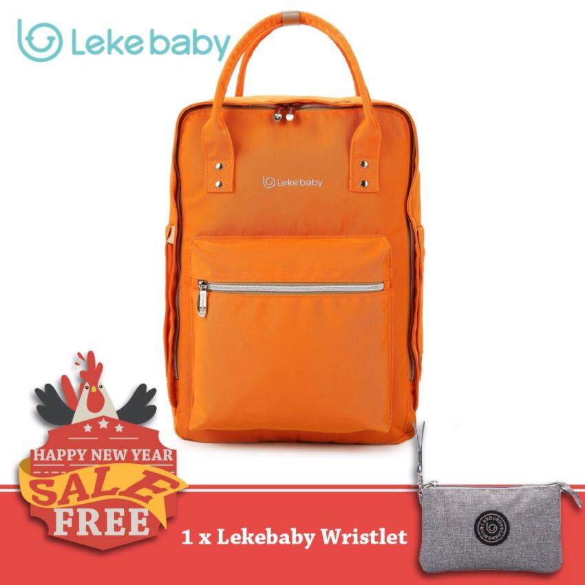 Lekebaby กระเป๋าเป้สะพายหลัง สำหรับใส่ของใช้เด็ก จุได้เยอะ (Orange)