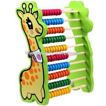 Mistertoyman ของเล่นไม้ ชุดลูกคิดไม้100เม็ดรูปยีราฟ